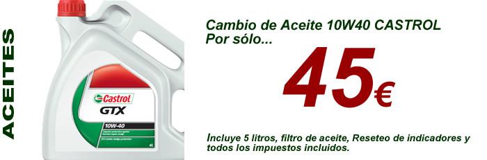 Aceite 10w40 castrol gtx por solo 45 euros